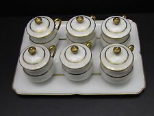 Set of 6 Limoges France Pot De Creme Cups with Tray - White with Gold Trim