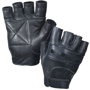 Leather Fingerless Mens Weight Training Gloves Black Heavy-Duty Bike Wheelchair