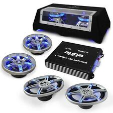 COMPLETE CAR AUDIO SYSTEM SPEAKERS SET AMPLIFIER TWIN SUBWOOFER SUB AMP WIRING
