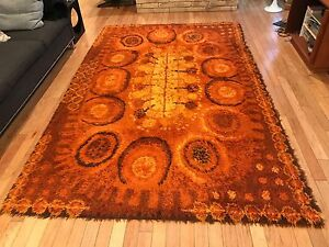 Image Is Loading 6x9 5 Danish Modern Rya Rug Vintage Mid