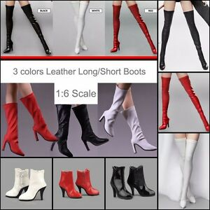 1-6-Woman-Leather-Long-Short-Boots-High-Heels-Shoes-For-12-034-Female-Action-Figure