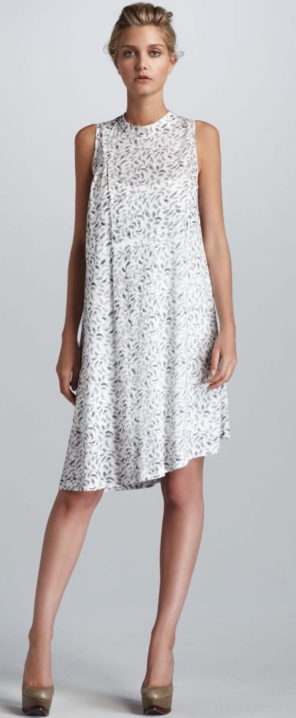 New ELIZABETH and JAMES 'Vinnie' Ivory Modal Printed Summer Cool Tank Dress S