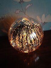Medium, Solid Glass Silver Mosaic Illuminated Ball Electric Lamp