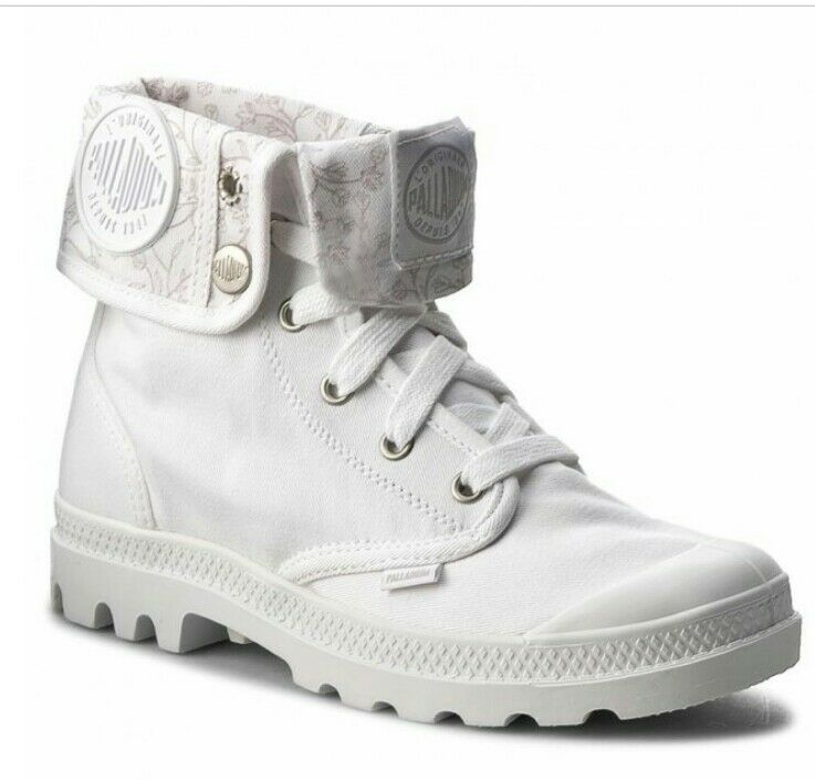 & Palladium Baggy Cuff womans White Hiking ankle Boots shoes canvans H S,
