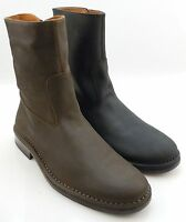 John Varvatos 'Mercer' Wood Brown or Black Leather Zip Boots Hand Made in Italy