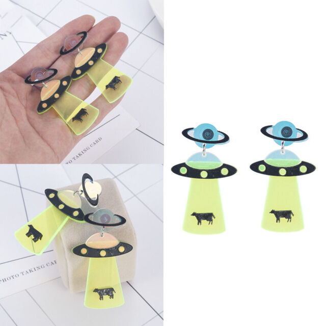 1pair Exaggeration Alien Earrings UFO Spaceship Shape Accessory Earring o