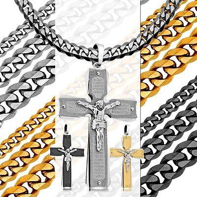 Set Anhänger Kette Halskette Herren Stahl Panzerkette Königskette Biker Kreuz
