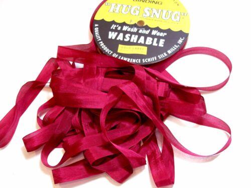 Hug Snug x 100 Yds Schiff Burgundy Rayon Mauve Rose Ribbon Red Seam Binding