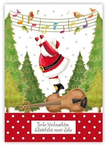 Quire*Weihnachten*Cartoon*Postkarte*Santa/&Hängematte/&Noten*Pinguin*10 x15cm*