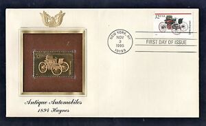 1995-Gold-Stamp-First-Cover-Antique-Automobiles-1894-Haynes