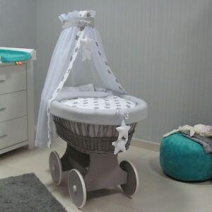 tolo baby stubenwagen weidenkorb bollerwagen grosse holzr der himmel g 14 ebay. Black Bedroom Furniture Sets. Home Design Ideas