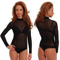 Sexy Mesh Tulle Womens Bodysuit Turtle Mock neck Long sleeve Thong 1480 Body EU