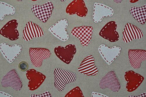 Tissu ameublement fantaisie thème coeurs rouges