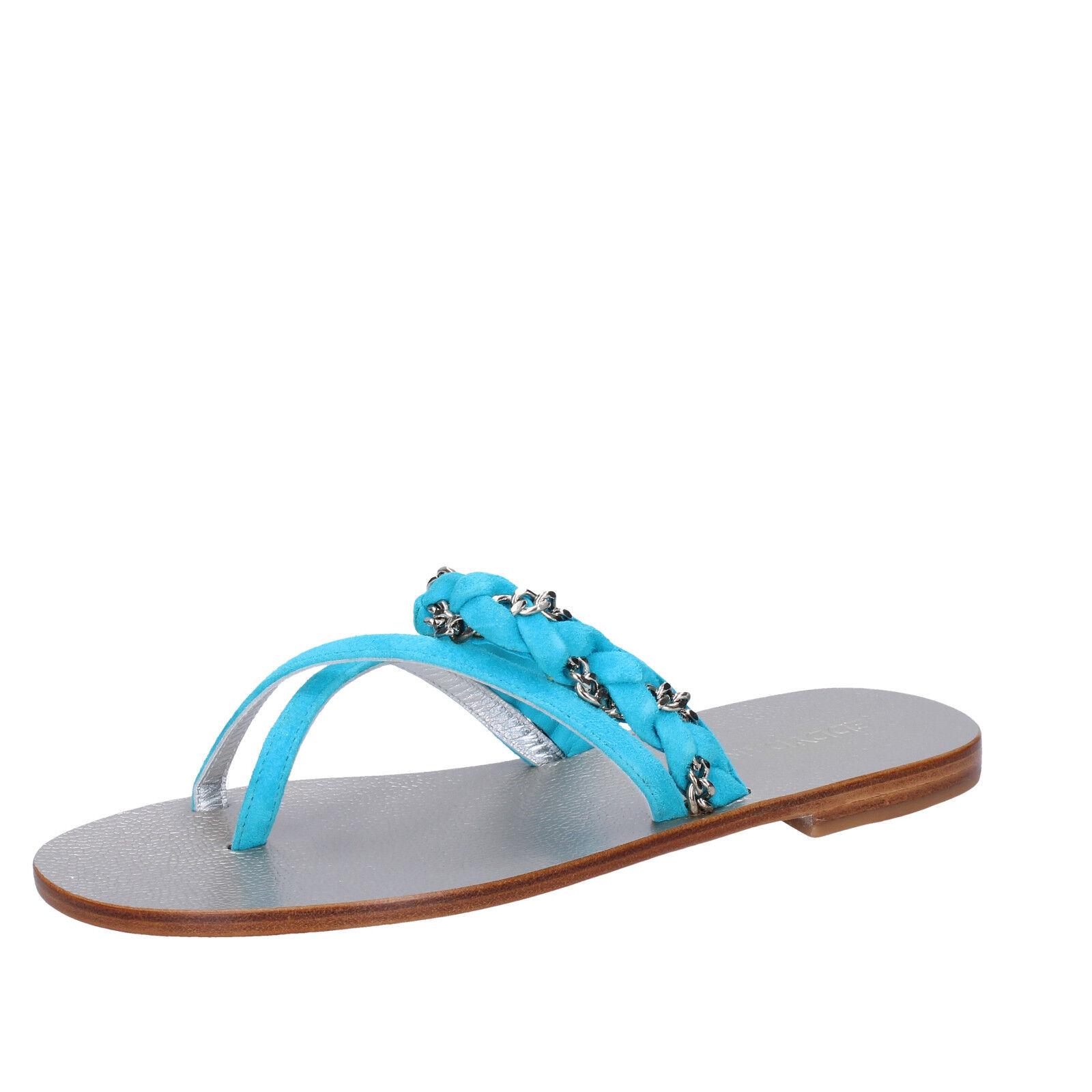 scarpe EU donna EDDY DANIELE 37 EU scarpe sandali celeste camoscio AW193-37 ac5f2c
