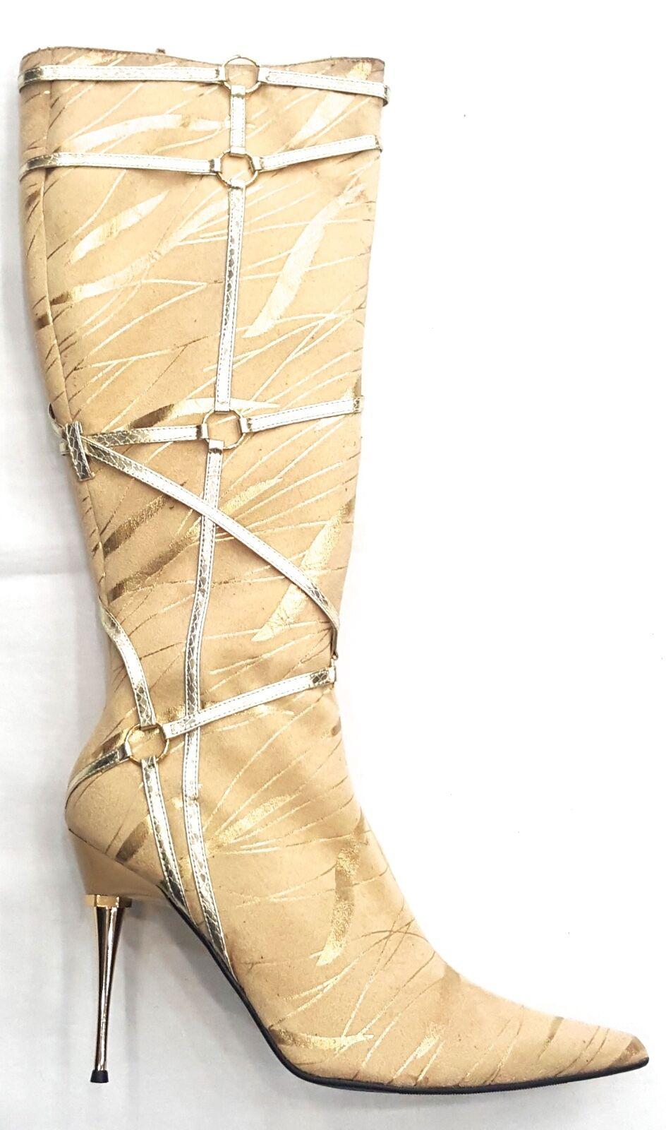 LADY 10 GODIVA CAMEL GOLD SUEDE LIKE Stiefel SIZE 10 LADY d36e75
