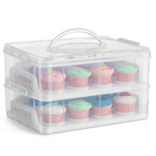 Cupcake Carrier Holder Container Box Clear Plastic Storage Basket Taker Courier