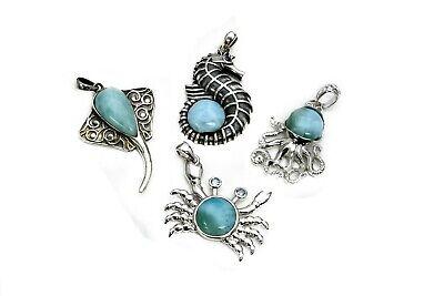 Wholesale Larimar Bracelet,Earrings /& Necklace Premium .925 Sterling Silver