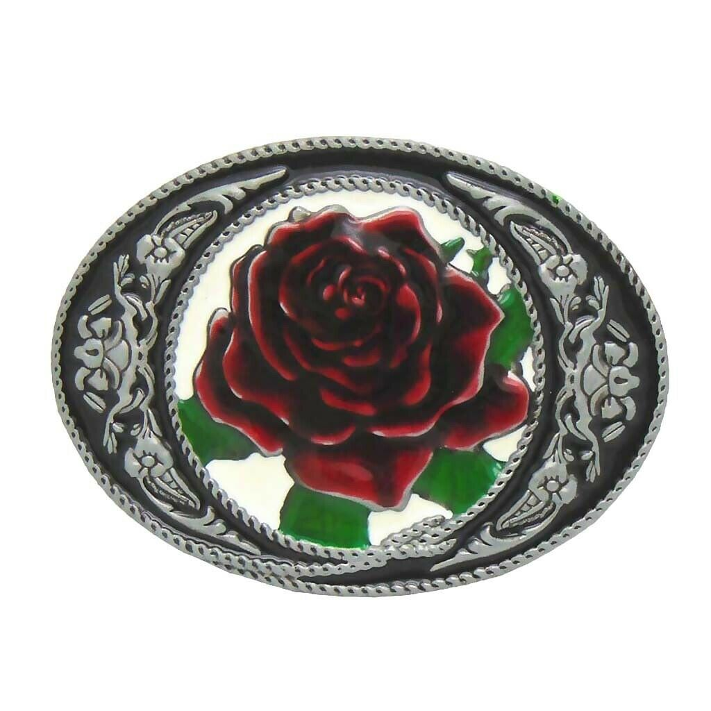 Western Cowgirl Rose Red Fashion Metal Oval Belt Buckle