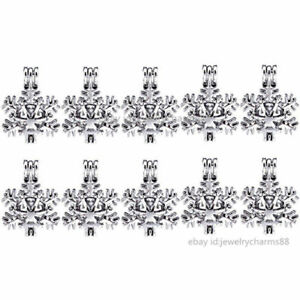 K289 Silver 25mm Xmas Snowflake Beads Pearl Cage Locket Chrismas Steel Necklace