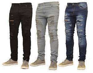 1e291662d7ce9 Image is loading Mens-Ripped-Slimfit-Skinny-Jeans-Stretch-Denim-Distress-