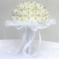 Pugster Rose Flowers Bridal Brooch Crystal Pearls Floral Wedding Bouquet