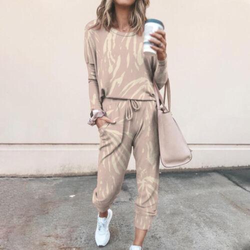 Pants Tracksuit Set Casual Sport Suit Lounge Wear 2PCS Women Long Sleeve Tops