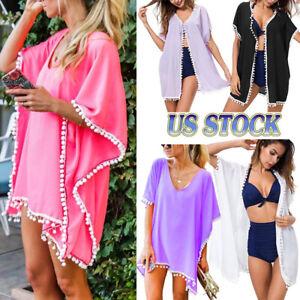 Womens-Beachwear-Cardigan-Tassel-Bikini-Cover-Up-Dress-Kaftan-Sarong-Beach-Dress