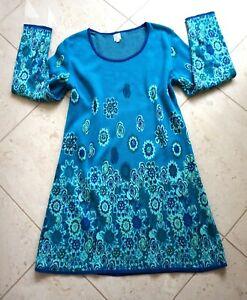 Deerberg Damen Strick Kleid Blau Bunt Baumwolle 100% Gr L ...