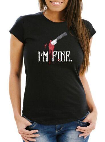 Damen T-Shirt I/'m fine Stichwunde Messer Halloween Horror Slim Fit Moonworks®