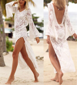 Womens-Lace-Crochet-Bikini-Beachwear-Cover-Up-Beach-Dress-Summer-Bathing-Suit-UK