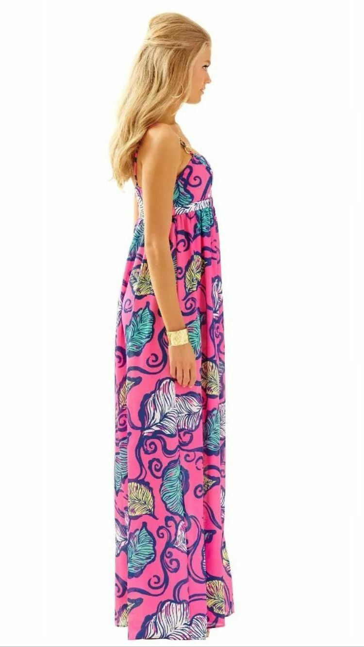 Nuovo Lilly Lilly Lilly Pulitzer Joanna Abito lungo Tropicale rosa Foglie Nel Breeze 572bcf