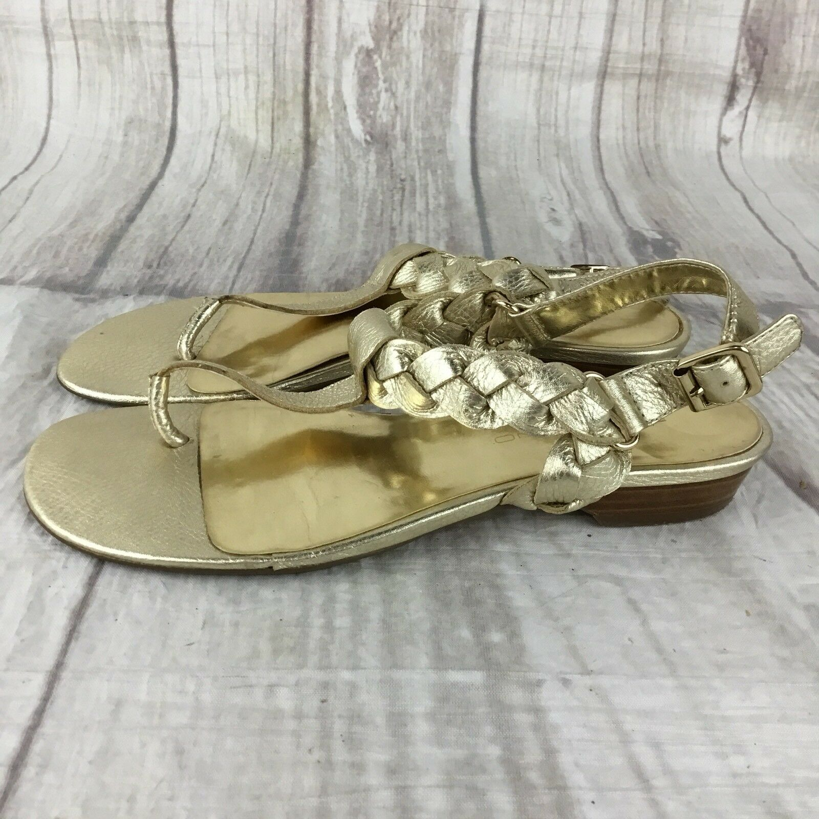 BANDOLINO Sandals Gold Braided Pebbled Leather T Strap Sandals BANDOLINO Stack Heel Size 6.5M a55bd9