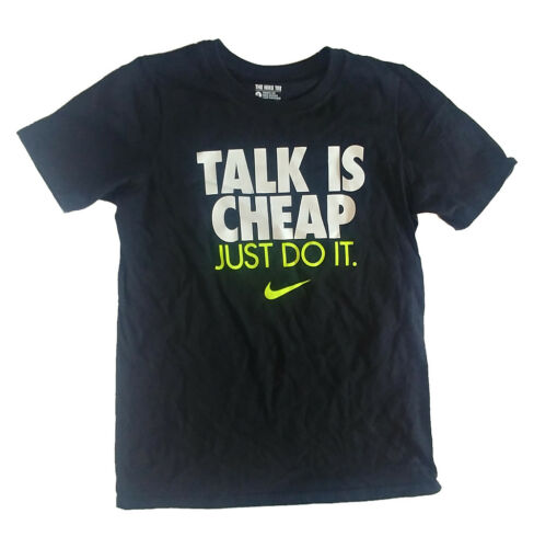 Nike Boys Talk Is Cheap T-Shirt AT5659 010 Small Black Volt New