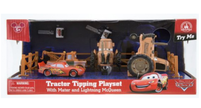Disney Parks Cars Land Tractor Tipping Playset With Mater And