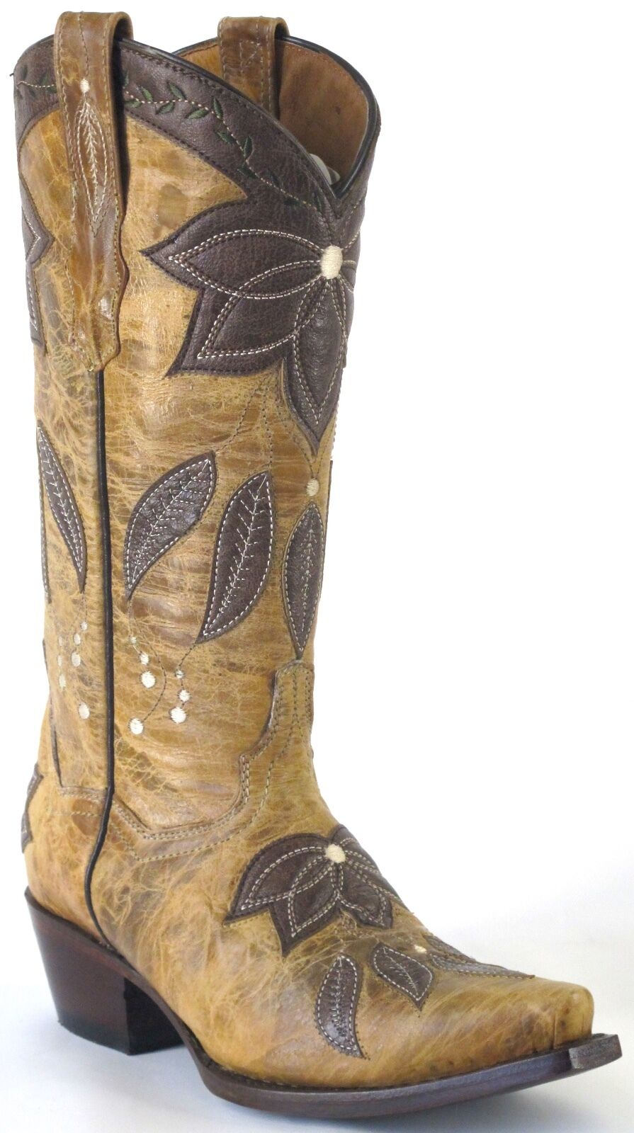 Women's New Embroidered Distressed Leather Cowgirl Western Western Western Boots Snip Tan c6fe73