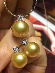 Natural Seawater Gold Pearl 18K Gold Inlay Pendant Earrings Set+Chain Gift
