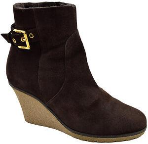 495-Bruno-Magli-en-Daim-marron-Cuir-Femmes-Cheville-Plateforme-Bottes-Chaussures-Taille-35-5