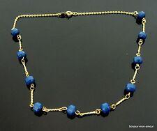 1970s blaue Magnet Metall Perlen Magnetische Halskette Magnetic Necklace Collier