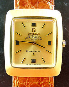 Omega-Constellation-Gelbgold-18K-750-Chronometer-Vintage-Automatik-Armbanduhr