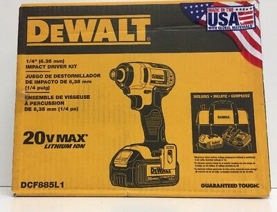 "(new) Dewalt Dcf885l1 20v 1/4"" Cordless Impact Driver W/ Battery Charger & Bag"