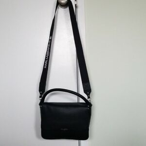 7028a6ef9fc4 Image is loading New-karl-lagerfeld-black-leather-crossbody-bag