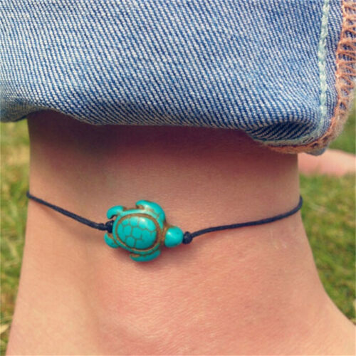 Women Turquoise Turtle Ankle Chain Anklet Bracelet Foot Chain Beach JewelryYN