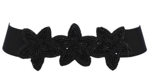 Damen Stretchgürtel Perlen Pailetten Stoff Gürtel Taillengürtel mit Druckknöpfe