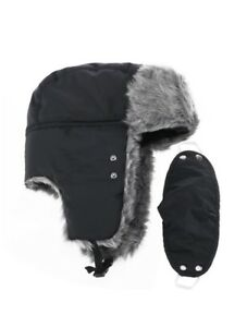 ab62eb02499 Image is loading Prooral-Unisex-Winter-Trooper-Trapper-Hunting-Hat-Black-