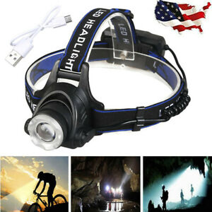 90000LM-Zoomable-T6-USB-Rechargeable-Led-Headlamp-Headlight-Flashlight-Torch-USA