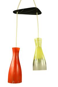 Diabolo-Glas-Schirm-Pendel-Leuchte-Top-Design-2er-Kaskade-Haenge-Lampe-50er-Jahre