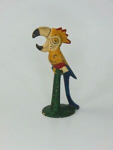 VTG-1940-039-s-John-Wright-Vintage-Cast-Iron-Toucan-Parrot-Bottle-Opener-Orig-Paint