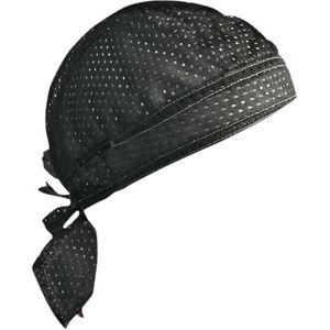 Solid-Black-Vented-Sweatband-Doo-Du-Rag-Headwrap-Biker-Cap-Bandanna-Mesh