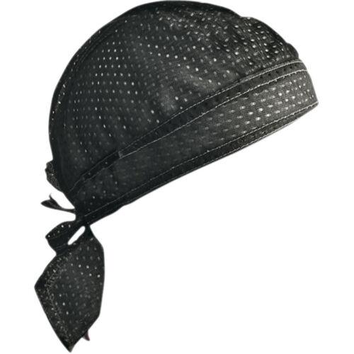 Solid Black Vented Sweatband Doo Du Rag Headwrap Biker Cap Bandanna Mesh