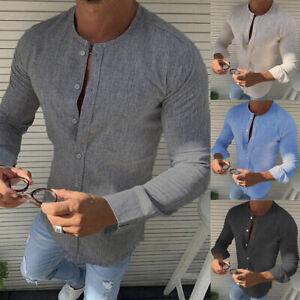Luxury-Stylish-Men-039-s-Slim-Fit-Casual-Shirts-Long-Sleeve-Linen-Dress-Shirts-Tops